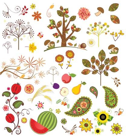 corn flower: Autumnal set Illustration