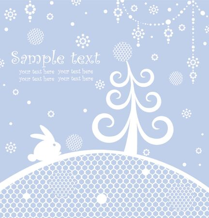 Christmas blue greeting card Stock Vector - 18894062
