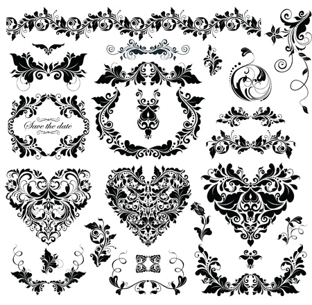 Floral design with heart shapes (black and white) Vector