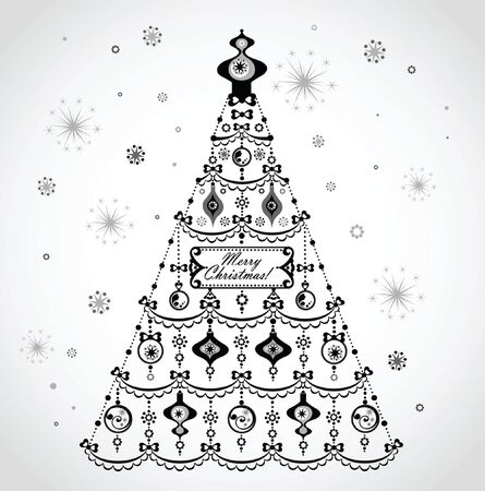 Retro xmas tree Vector