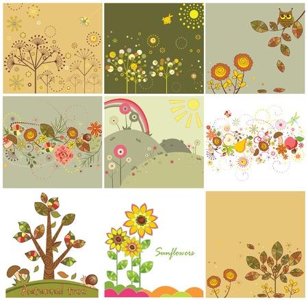 herbstblumen: Set von herbstlichen abstrakte Karten