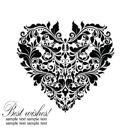 Wedding card (black and white) Illustration