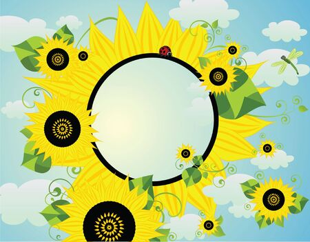 Card with sunflower Vector