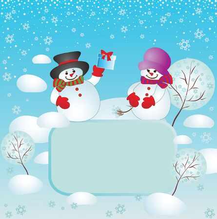 snowdrift: Xmas card with snowman