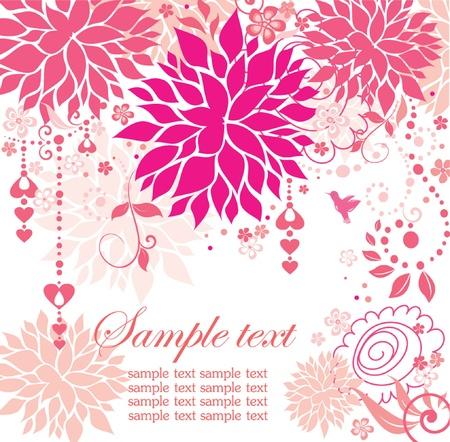 Beautiful greeting pink card Stock Vector - 18893816