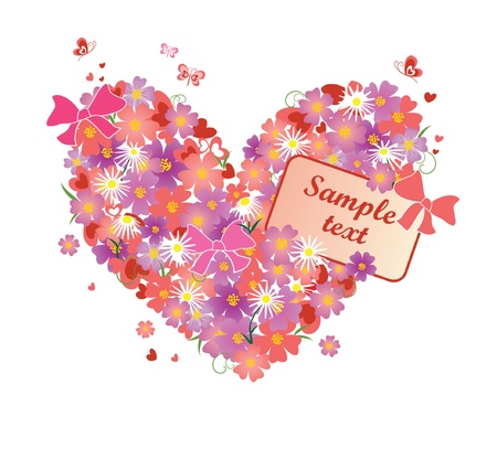 Greeting floral heart Vector