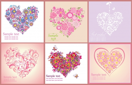 hearts and roses: Greeting postcard with flowers hearts shapes Illustration