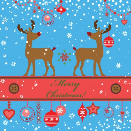 Greeting xmas card with deer Stock Vector - 18893771