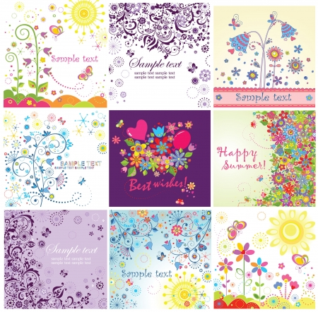 Summery greeting cards Vector