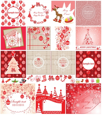 Xmas red cards Vector