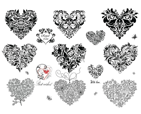 retro lace: Black decorative hearts