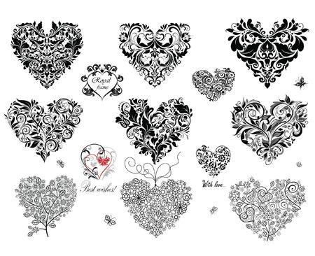 hart bloem: Zwarte decoratieve harten