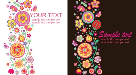 Seamless abstract floral borders Vector