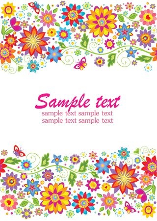 Summery floral border Vector