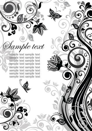 Vintage floral banner (black and white) Vector