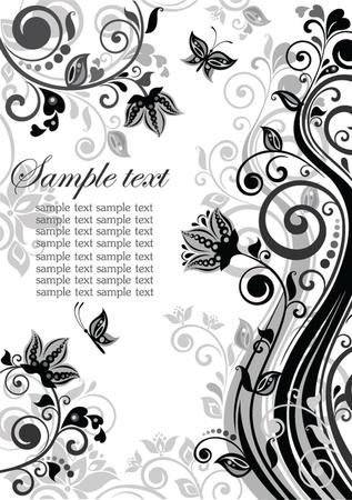 Vintage floral banner (black and white) Vector