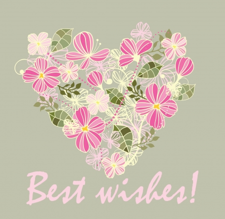 Beautiful card with floral heart Stock Vector - 18894312