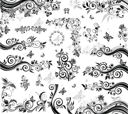 butterfly border: Black and white design elements