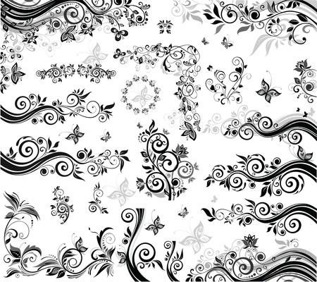 corner design: Black and white design elements