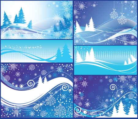 Christmas blue cards Stock Vector - 18894378