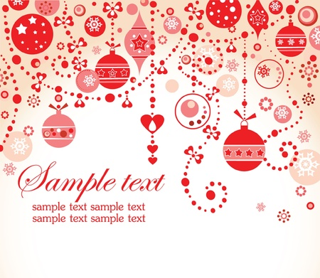 happy christmas: Christmas red greeting card Illustration