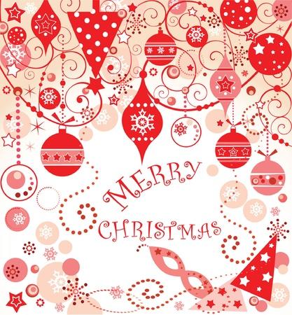 Christmas red postcard Stock Vector - 18894209