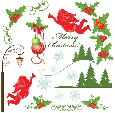 christmas holly: Christmas set