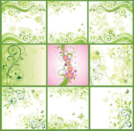 swirl border: Floral abstract banner