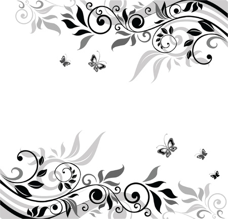 swirl floral: Floral banner (black and white)