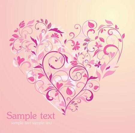 Floral pink heart Vector