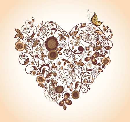 Vintage floral heart Stock Vector - 18921609