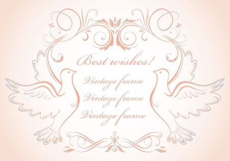 Wedding frame with doves Vector