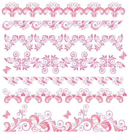 Beautiful pink seamless borders Vector