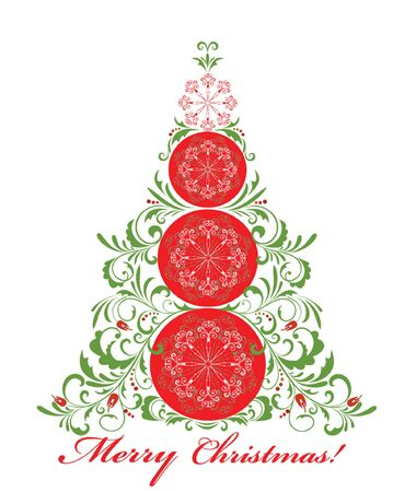 Greeting card with xmas tree Vector