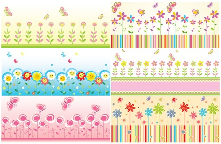 Seamless floral cute borders Vector