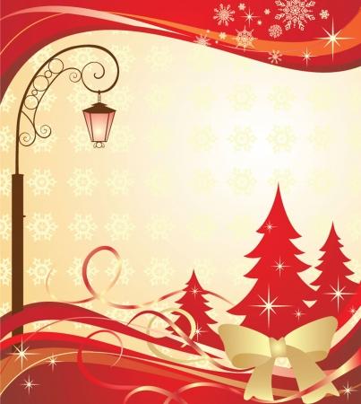 Christmas banner with lantern