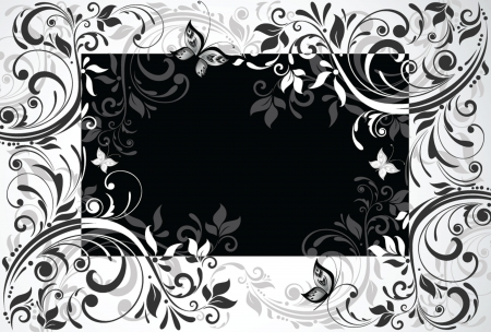 buttefly: Floral card  Black and white Illustration