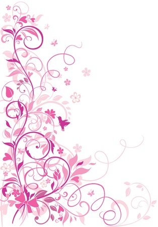 flores vintage: Greeting floral border Illustration