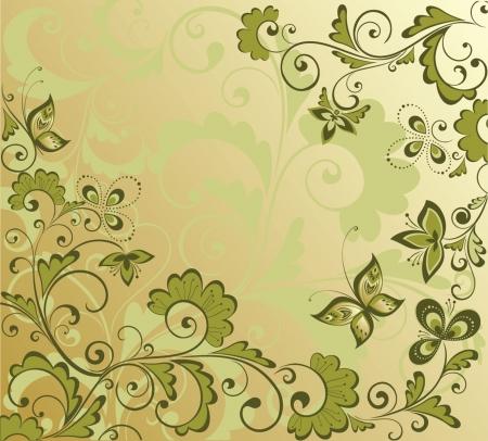 Ornate floral card Vector