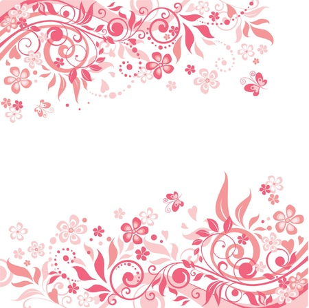 rose butterfly: Pink floral background Illustration