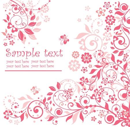 papillon rose: Carte florale de rose Illustration