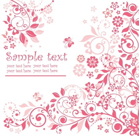 pink butterfly: Pink floral card Illustration