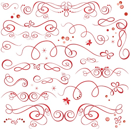 Red holiday design elements Stock Vector - 18921520