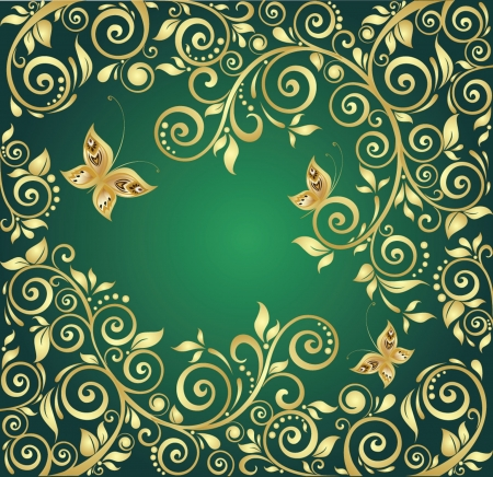 gold floral: Vintage gold background