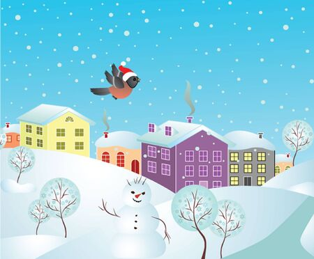 Winter postcard Vector