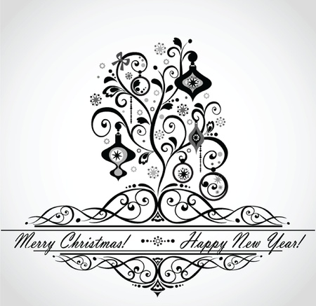 Christmas decoration (black and white) Vector