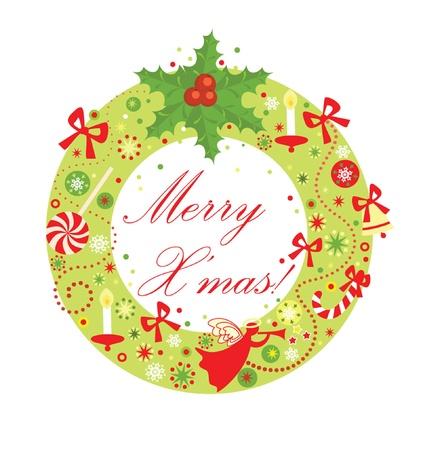 Christmas funny wreath Vector