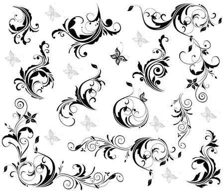 tatouage fleur: D�cor vintage (noir et blanc)