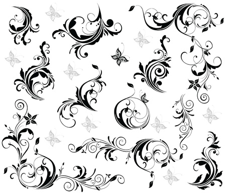 flourishes: Vintage decor (black and white) Illustration
