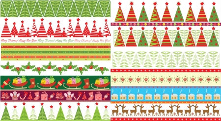 Xmas seamless borders Vector